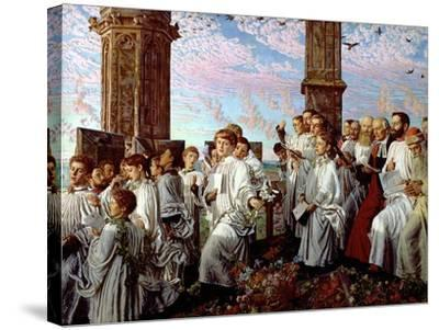 May Morning on Magdalen Tower-William Holman Hunt-Stretched Canvas Print