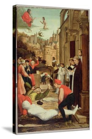 St. Sebastian Interceding for the Plague Stricken, 1497-99-Josse Lieferinxe-Stretched Canvas Print