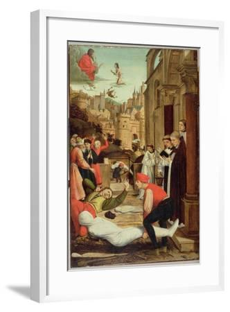 St. Sebastian Interceding for the Plague Stricken, 1497-99-Josse Lieferinxe-Framed Giclee Print