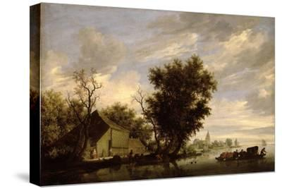 River Scene with a Ferry Boat-Salomon van Ruisdael or Ruysdael-Stretched Canvas Print