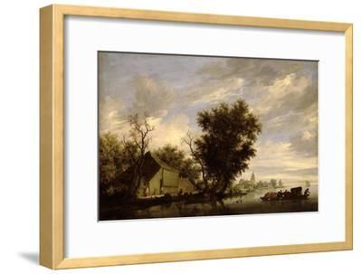 River Scene with a Ferry Boat-Salomon van Ruisdael or Ruysdael-Framed Giclee Print