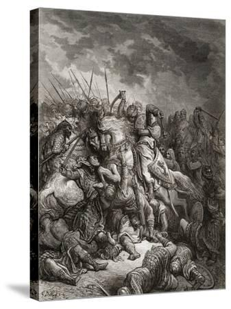 Richard I (1157-99) the Lionheart in Battle at Arsuf in 1191, Illustration from 'Bibliotheque Des…-Gustave Dor?-Stretched Canvas Print