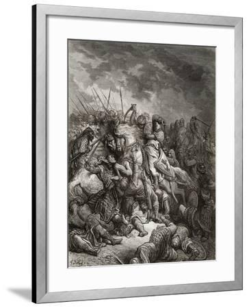 Richard I (1157-99) the Lionheart in Battle at Arsuf in 1191, Illustration from 'Bibliotheque Des…-Gustave Dor?-Framed Giclee Print