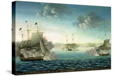 Capture of the Us Frigate 'Essex' by B.M Frigate 'Phoebe' and Sloop 'Cherub' in the Bay of…-George Ropes-Stretched Canvas Print