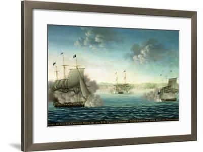 Capture of the Us Frigate 'Essex' by B.M Frigate 'Phoebe' and Sloop 'Cherub' in the Bay of…-George Ropes-Framed Giclee Print