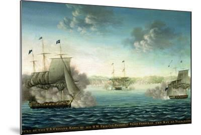 Capture of the Us Frigate 'Essex' by B.M Frigate 'Phoebe' and Sloop 'Cherub' in the Bay of…-George Ropes-Mounted Giclee Print