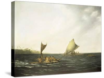 Tonga Canoes-John Webber-Stretched Canvas Print