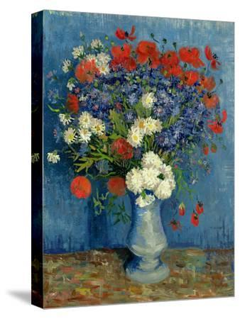 Still Life: Vase with Cornflowers and Poppies, 1887-Vincent van Gogh-Stretched Canvas Print