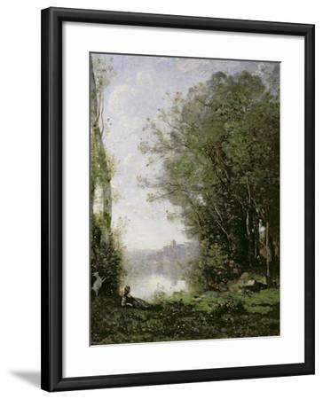 The Goatherd Beside the Water-Jean-Baptiste-Camille Corot-Framed Giclee Print