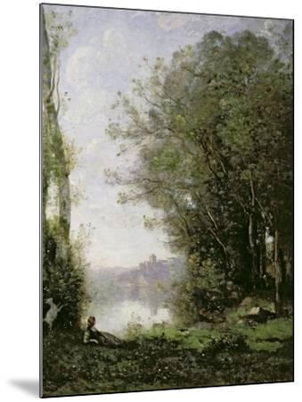 The Goatherd Beside the Water-Jean-Baptiste-Camille Corot-Mounted Giclee Print