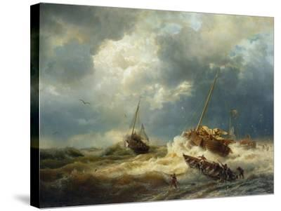 Ships in a Storm on the Dutch Coast, 1854-Andreas Achenbach-Stretched Canvas Print