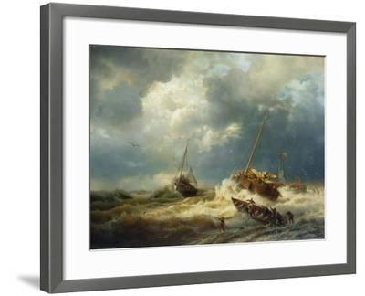 Ships in a Storm on the Dutch Coast, 1854-Andreas Achenbach-Framed Giclee Print