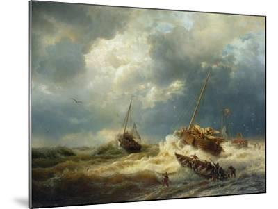 Ships in a Storm on the Dutch Coast, 1854-Andreas Achenbach-Mounted Giclee Print