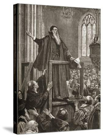 Thomas Cranmer's (1489-1556) Last Testimony--Stretched Canvas Print