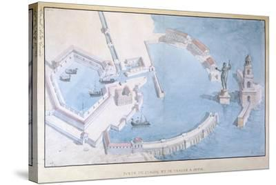 Reconstruction of the Roman Port of Ostia, C.1850-Andre Lenoir-Stretched Canvas Print