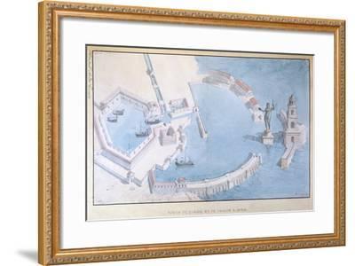 Reconstruction of the Roman Port of Ostia, C.1850-Andre Lenoir-Framed Giclee Print