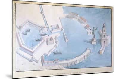 Reconstruction of the Roman Port of Ostia, C.1850-Andre Lenoir-Mounted Giclee Print