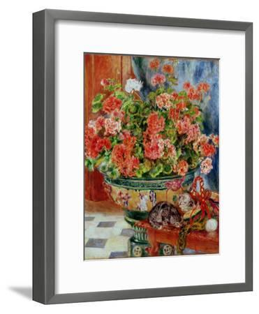 Geraniums and Cats, 1881-Pierre-Auguste Renoir-Framed Premium Giclee Print