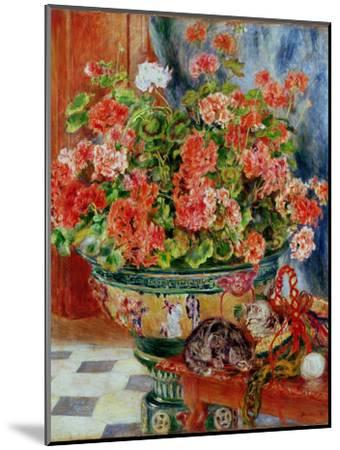 Geraniums and Cats, 1881-Pierre-Auguste Renoir-Mounted Premium Giclee Print