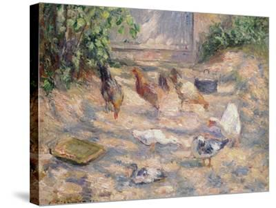 Farmyard at Pontoise, 1877-Camille Pissarro-Stretched Canvas Print