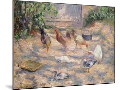 Farmyard at Pontoise, 1877-Camille Pissarro-Mounted Giclee Print