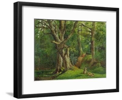 Woodland Scene with Rabbits, 1862-Hubert von Herkomer-Framed Giclee Print