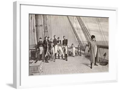 Napoleon (1769-1821) on Board the Bellerophon-English School-Framed Giclee Print