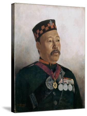 Subadar Major Judbhir Thapa, 2nd Gurkha Regiment, 1893-Gertrude Ellen Burrard-Stretched Canvas Print