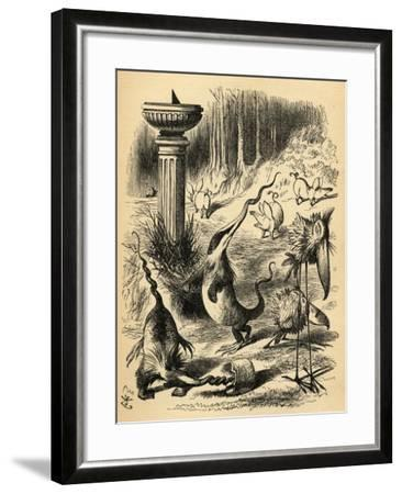 The Borogoves, Toves and the Raths, Illustration from 'Through the Looking Glass' by Lewis…-John Tenniel-Framed Giclee Print