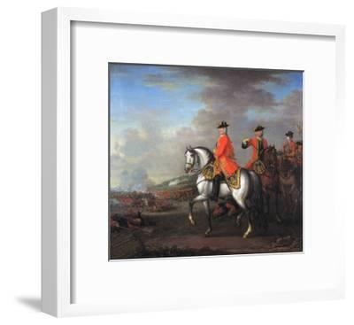 King George II (1683-1760) at the Battle of Dettingen, with the Duke of Cumberland and Robert,…-John Wootton-Framed Giclee Print