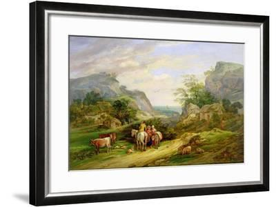 Landscape with Figures and Cattle-James Leakey-Framed Giclee Print