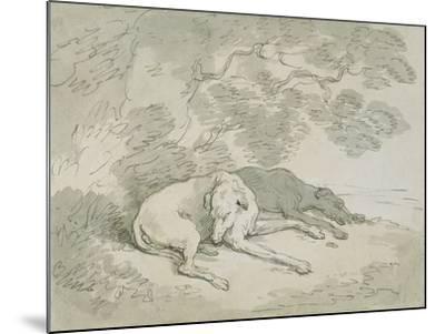 Greyhounds Asleep-Thomas Rowlandson-Mounted Giclee Print