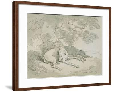 Greyhounds Asleep-Thomas Rowlandson-Framed Giclee Print