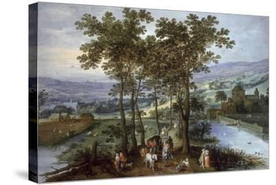 Spring, a Landscape with Elegant Company on a Tree-Lined Road- Joos de Momper and Jan Brueghel-Stretched Canvas Print