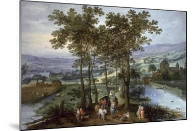 Spring, a Landscape with Elegant Company on a Tree-Lined Road- Joos de Momper and Jan Brueghel-Mounted Giclee Print