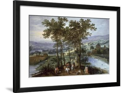 Spring, a Landscape with Elegant Company on a Tree-Lined Road- Joos de Momper and Jan Brueghel-Framed Giclee Print