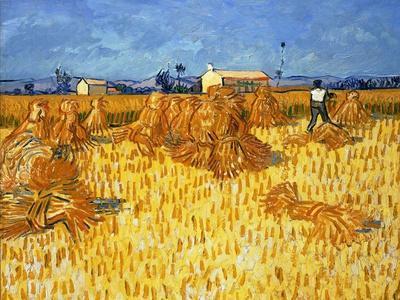 Harvest in Provence, June 1888-Vincent van Gogh-Framed Premium Giclee Print