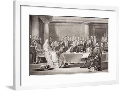 Queen Victoria's First Council, Kensington Palace, 21 June 1837, from 'Illustrations of English…-Sir David Wilkie-Framed Giclee Print