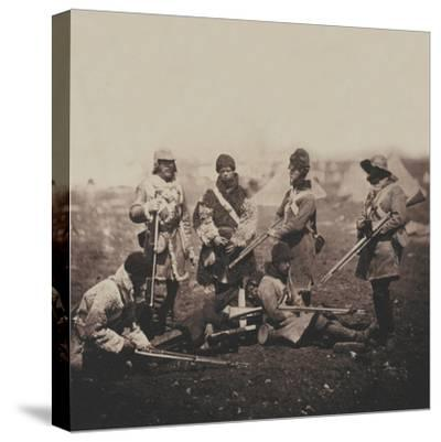 Men of the 68th (Durham) Regiment of Foot (Light Infantry) in Winter Dress, from an Album of 52…-Roger Fenton-Stretched Canvas Print
