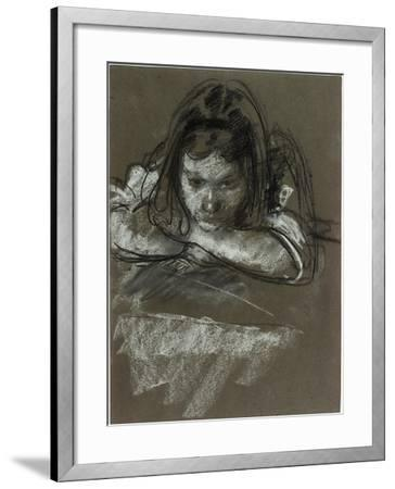 Head and Shoulders of a Girl at a Table-Henry Tonks-Framed Giclee Print