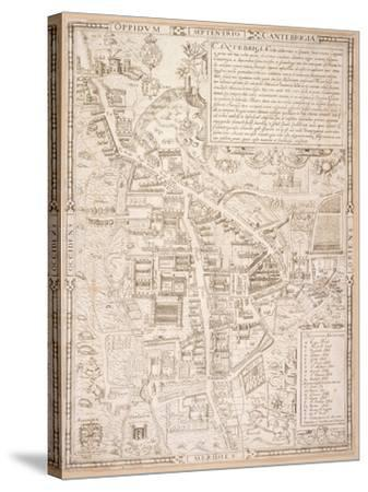 Map of Cambridge, from Caius 'Historia Cantabrigensis Academia', 1574-Richard Lyne-Stretched Canvas Print