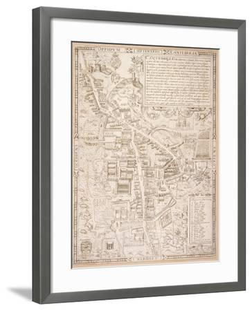 Map of Cambridge, from Caius 'Historia Cantabrigensis Academia', 1574-Richard Lyne-Framed Giclee Print