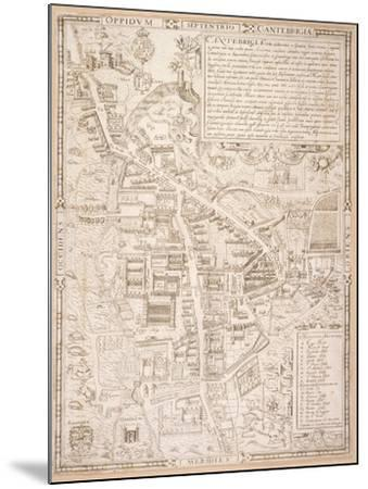 Map of Cambridge, from Caius 'Historia Cantabrigensis Academia', 1574-Richard Lyne-Mounted Giclee Print