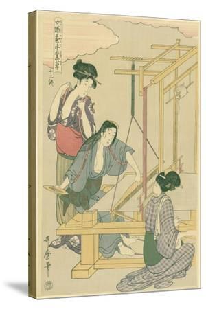 Weaving the Silk, No.12 from 'Joshoku Kaiko Tewaza-Gusa', C.1800-Kitagawa Utamaro-Stretched Canvas Print