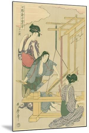 Weaving the Silk, No.12 from 'Joshoku Kaiko Tewaza-Gusa', C.1800-Kitagawa Utamaro-Mounted Giclee Print