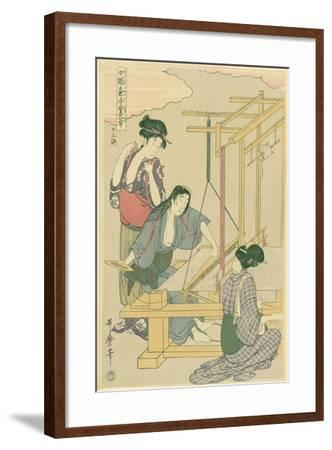 Weaving the Silk, No.12 from 'Joshoku Kaiko Tewaza-Gusa', C.1800-Kitagawa Utamaro-Framed Giclee Print