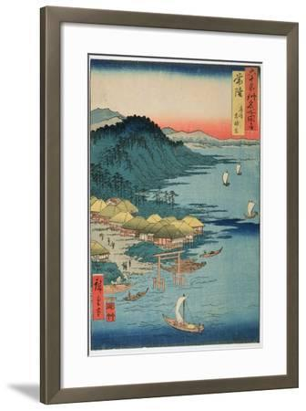Hitachi Province: Kashima Great Shrine, from the Series 'Illustrations of Famous Places in the…-Ando Hiroshige-Framed Giclee Print