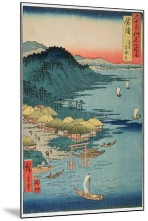 Hitachi Province: Kashima Great Shrine, from the Series 'Illustrations of Famous Places in the…-Ando Hiroshige-Mounted Giclee Print