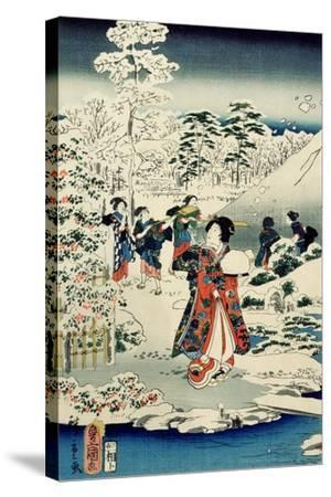 Maids in a Snow-Covered Garden, 1859-Utagawa Hiroshige and Kunisada-Stretched Canvas Print