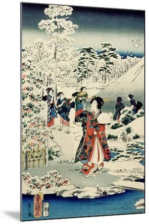 Maids in a Snow-Covered Garden, 1859-Utagawa Hiroshige and Kunisada-Mounted Giclee Print